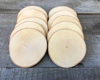 """10 Birch wood slices 3.5"""" - 4.5"""""""
