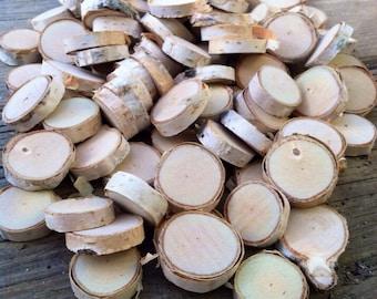 """100 Birch wood slices .75"""" - 1.25"""""""