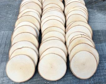 """50 Birch wood slices 2.5"""" - 3.25"""""""