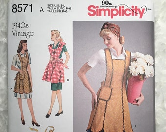 Simplicity 8571, 1940s Vintage Apron Reproduction Pattern, Full Coverage, Half Apron