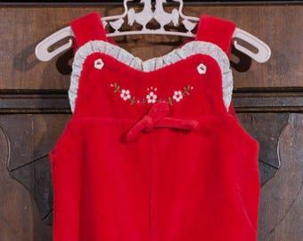 Vintage Red Velour Romper, 1980s, Baby Girl Romper, Valentine's Day, Christmas