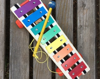 Vintage Fisher Price Pull-A-Tune, 1964 Xylophone Pull Toy With Original Wooden Mallet