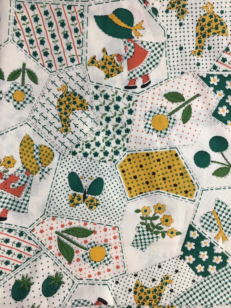 1970s Green Vintage Holly Hobbie Style 44in wide Sold by the yard Faux Patchwork Gold and Burnt Orange on Ecru