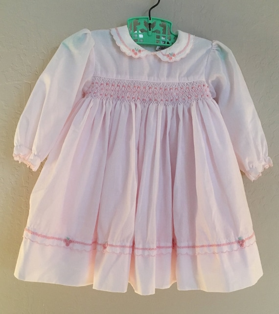 Sarah Louise England White Dress Hand Smocked and Embroidered Newborn and 12m