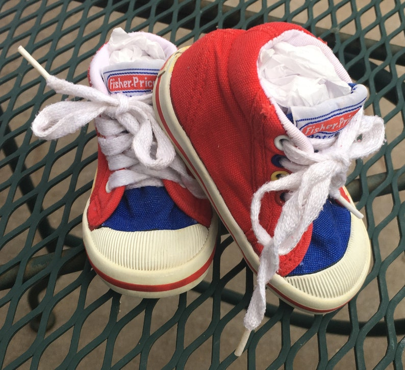 47fed6642e92 Vintage Fisher Price Baby Shoes Size 3 1 2 1986 Red White