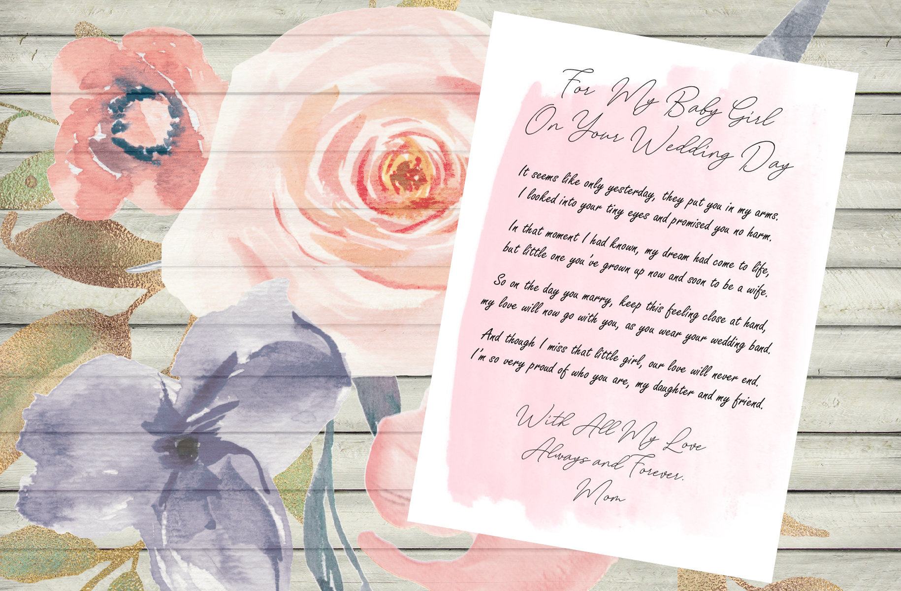 Letter to the Bride / On Your Wedding Day / Daughter / Wedding / Wedding  Gift / Pink
