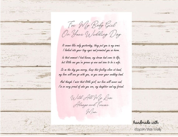 Letter to the Bride / On Your Wedding Day / Daughter / Wedding / Wedding  Gift