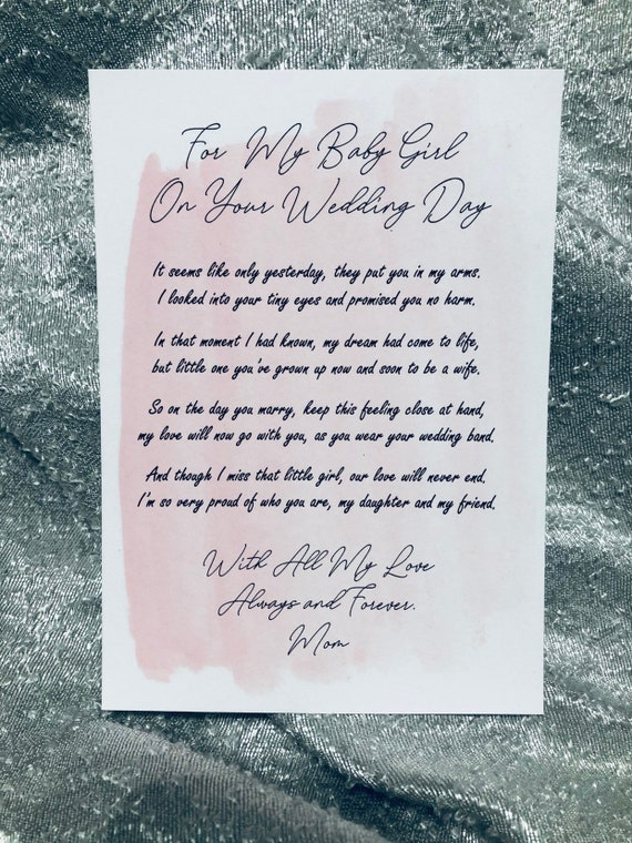Wedding Day Letter To Bride.Letter To The Bride On Your Wedding Day Daughter Wedding Wedding Gift Pink
