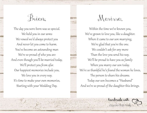 Letters To The Bride And Groom On Your Wedding Day Son And Etsy