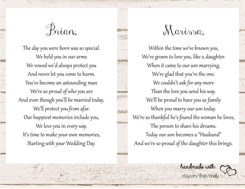 Letters to the Bride and Groom / On Your Wedding Day / Son and | Etsy