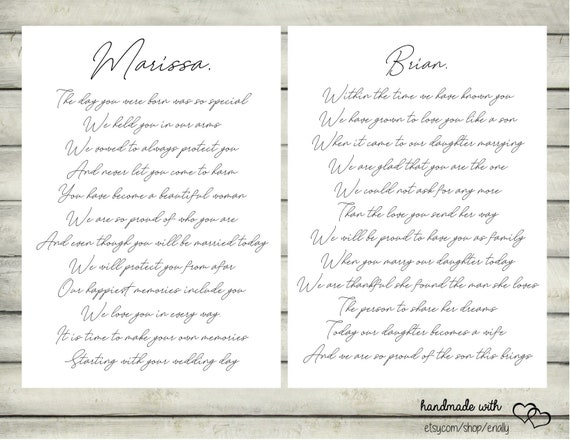 Wedding Day Letter To Bride.Letters To The Bride And Groom On Your Wedding Day Daughter And Son In Law Wedding Wedding Gift