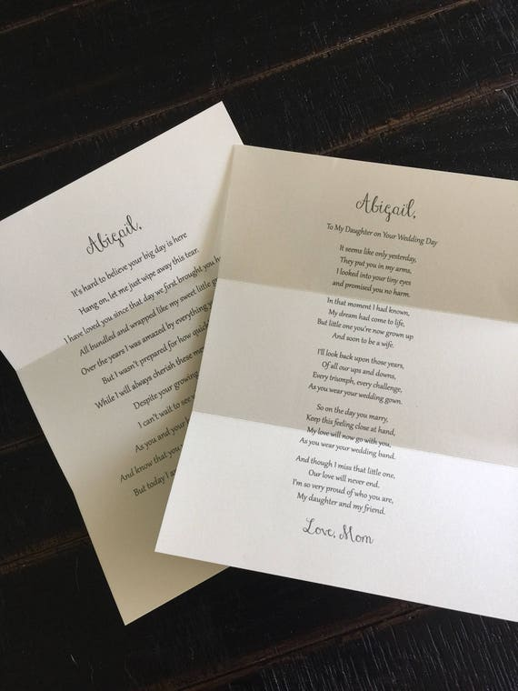 Letters to the Bride / On Your Wedding Day / Daughter / Wedding / Wedding  Gift / Note From Mom / Note From Dad / To My Daughter