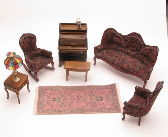 Tremendous Dollhouse Living Room Set With Sofa 2 Chairs Rolltop Desk Table And Lamp Rug Squirreltailoven Fun Painted Chair Ideas Images Squirreltailovenorg