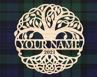 Tree of Life Personalized with Name and Year, Celtic style wall decor. Wedding gift, Housewarming gift, Anaversary gift, Wooden wall art