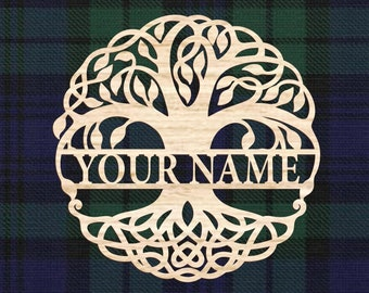 Personalized Tree of Life, Celtic style wall decor. Wedding gift, Housewarming gift, Anaversary gift, Irish gift for home, wood wall decor