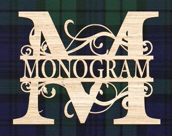 Monogram personalized family name sign. Wooden wall decor. Gift for home, Wedding gift, Anniversary gift, Housewarming gift, Laser cut signs
