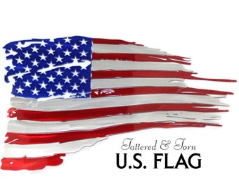 American Flag tattered and torn metal wall art decor. This patriotic flag is perfect as indoor outdoor wall art. Made from Aluminum.