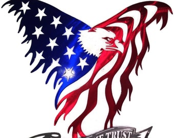 Flying Eagle Tattered Flag. Patriotic wall decor. In God We Trust.
