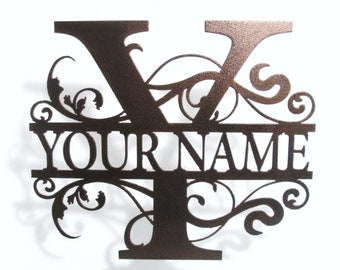 Monogram family name sign. Metal wall art decor. powder coated steel, custom colors and sizes & Free Shipping