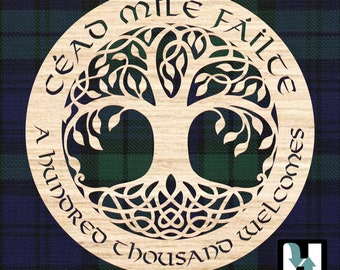 """Tree of Life, """"Cead Mile Failte"""" or """"A Hundred Thousand Welcomes"""" Celtic or Irish Welcome Sign. Wedding gift, Housewarming gift."""
