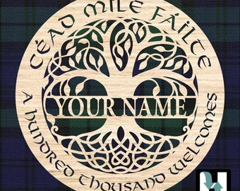"""Tree of Life, """"Cead Mile Failte"""" or """"A Hundred Thousand Welcomes"""" Personalized wall decor. Celtic or Irish Wedding gift, Housewarming gift."""