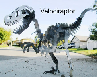 Velociraptor Dinosaur 3D Puzzle Metal Art Sculpture Plasma Cut, Gift Ideas, Dino, Prehistoric, Jurassic Park, Fossil, Modern Art, Raptor