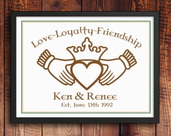 Irish Claddagh image, Love, Loyalty, Friendship. Framed poster. Personalized Name/s and Date. Wedding gift, anniversary gift, housewarming