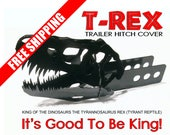 T-Rex Trailer Hitch Cover. Fabricated steel dinosaur head The King of the Dinosaurs. Sure to be a conversation starter. Great Gift Idea.