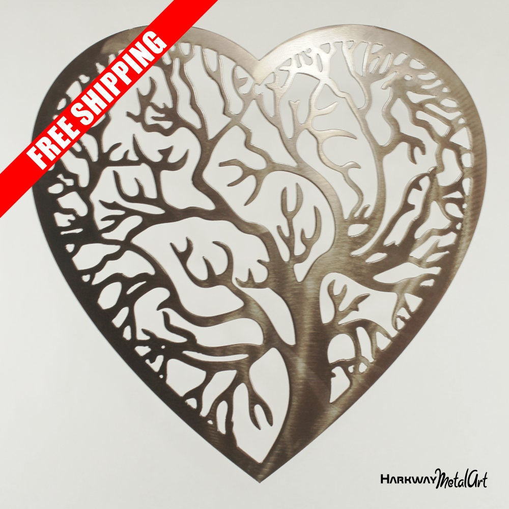 Heart Shaped Tree of Life metal wall art. powder coated ...
