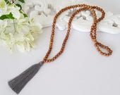 Long gray wooden bead tassel necklace - 8mm Natural wood beads with a grey tassel