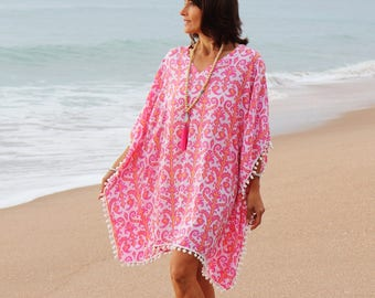 Beach cover up - Pink Summer kaftan -  - Pink caftan dress short with pom poms  - Pink and coral tribal print rayon