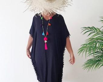 Long Black Kaftan dress - Large size Black pom pom  Beach cover up - Long Black caftan dress