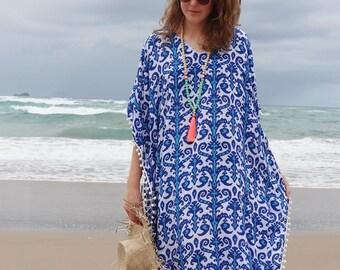 a7e69fa014ad7 Blue Kaftan dress - Large size beach caftan dress - Blue print rayon beach  kaftan with pom pom trim