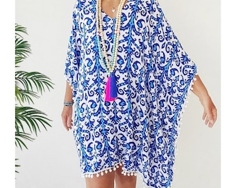 Kaftan Beach cover up Large  - Caftan dress/ poncho - Royal blue and turquoise tribal print rayon cover up with pom pom trim