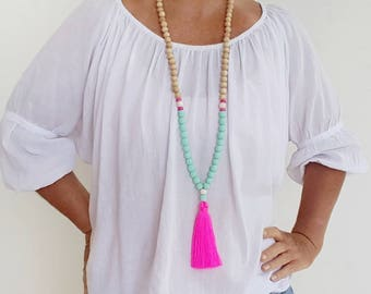 Neon Pink beaded tassel necklace  -  Long boho wooden bead tassel necklace with teal resin feature beads and pink  tassel
