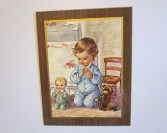 Vintage Baby Room Nursery Wall Art Decor  Prints Praying Child  Art Wall Art For Nursery Ideas