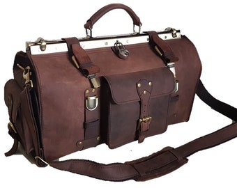 e3f18b42e6 Handmade Distressed Buffalo Leather Doctor Bag   Vintage Metal Framed  Leather Doctor Bag - 3 Sizes 5 Colors