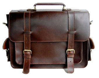 Classic Brown Buffalo Oil Pull-up Leather Briefcase / Attache / Satchel / Laptop Case -SP