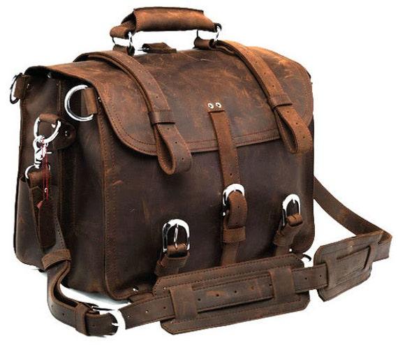 315911955795 Handmade Distressed Buffalo Leather Briefcase / Messenger Bag / Backpack /  Satchel / Laptop Case - 3S