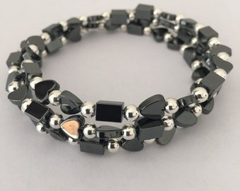 Silver and Hematite Memory Wire