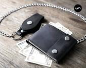 LEATHER BIKER WALLET, Chain Wallet, Trucker Wallet, Leather Chain Wallet, Leather Biker Wallet, Biker Chain Wallet, Leather Bifold #038