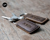 2 Personalized Custom Leather Keychains, SET of 2 Leather Keychain Fobs, 2 Personalized Leather Keychains for Him [KEY]