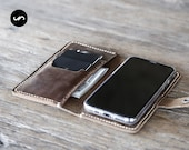 iPhone 12 Wallet Case with closure, PERSONALIZED Leather iPhone Case, Leather iPhone Case, Personalized iPhone - PICK your iPhone below #056