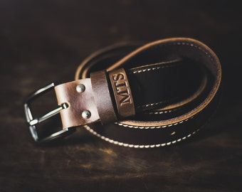 Mens Leather Belt, The Gunslinger, Probably the Last Handmade Leather Belt You'll Every Buy, Rugged Mens Leather Belt Brown #091
