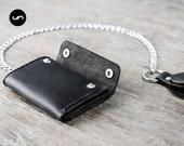 Mens Trifold Chain Wallet, Biker Trifold Wallet, Mens Leather Biker Wallet, Trifold Chain Wallets, Mens Wallet, JooJoobs Mens Wallets #037