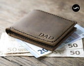 Euro Wallet, PERSONALIZED Mens Leather Bifold Wallet, Fits Euro, UK and HK Currency, Mens Leather Euro Wallet #027