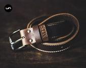 """Mens Leather Belt """"The Gunslinger"""" Personalized Belt, Personalized Mens Leather Belt, Rugged Mens Leather Belt Brown #091"""