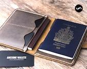 Passport Wallet, Leather Passport Wallet, Passport Holder, travel wallet, passport case, leather passport holder, document wallet #021S