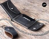 Biker Wallet - Wallet - Men's Dark Leather Biker Wallet - Chain Wallets - Manly Man Wallets, Personalized Xmas Gift Ideas -- Listing# 038