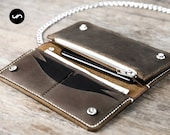 PERSONALIZED Biker Chain Wallet, Leather Biker Chain Wallet, Long Wallet, Personalized Chain Wallet, PERSONALIZED Leather Biker Wallet #052